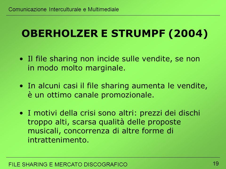 Comunicazione Interculturale e Multimediale FILE SHARING E MERCATO DISCOGRAFICO 19 Il file sharing non incide sulle vendite, se non in modo molto marg