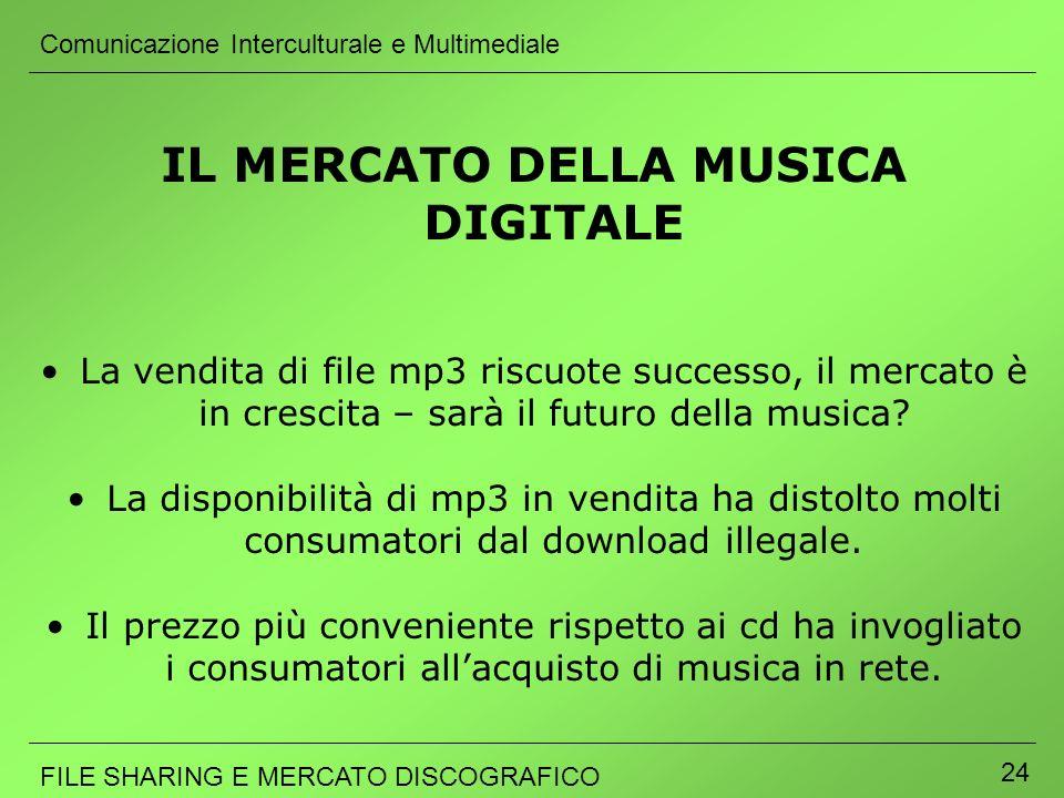 Comunicazione Interculturale e Multimediale FILE SHARING E MERCATO DISCOGRAFICO 24 IL MERCATO DELLA MUSICA DIGITALE La vendita di file mp3 riscuote su