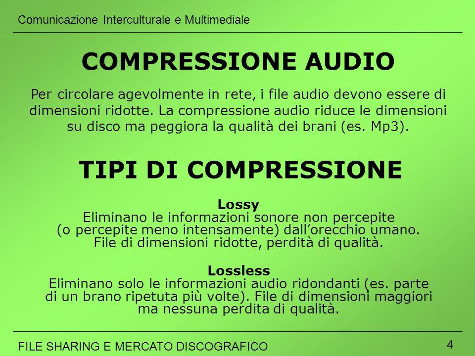 Comunicazione Interculturale e Multimediale FILE SHARING E MERCATO DISCOGRAFICO 4 COMPRESSIONE AUDIO Lossy Eliminano le informazioni sonore non percep