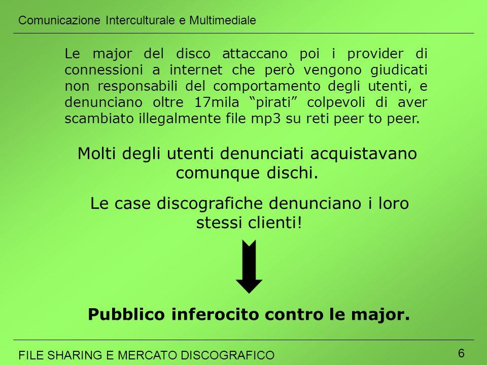 Comunicazione Interculturale e Multimediale FILE SHARING E MERCATO DISCOGRAFICO 6 Le major del disco attaccano poi i provider di connessioni a interne