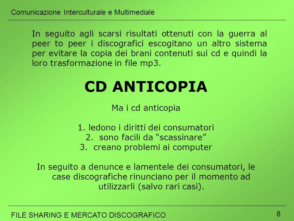 Comunicazione Interculturale e Multimediale FILE SHARING E MERCATO DISCOGRAFICO 8 Ma i cd anticopia 1.ledono i diritti dei consumatori 2. sono facili