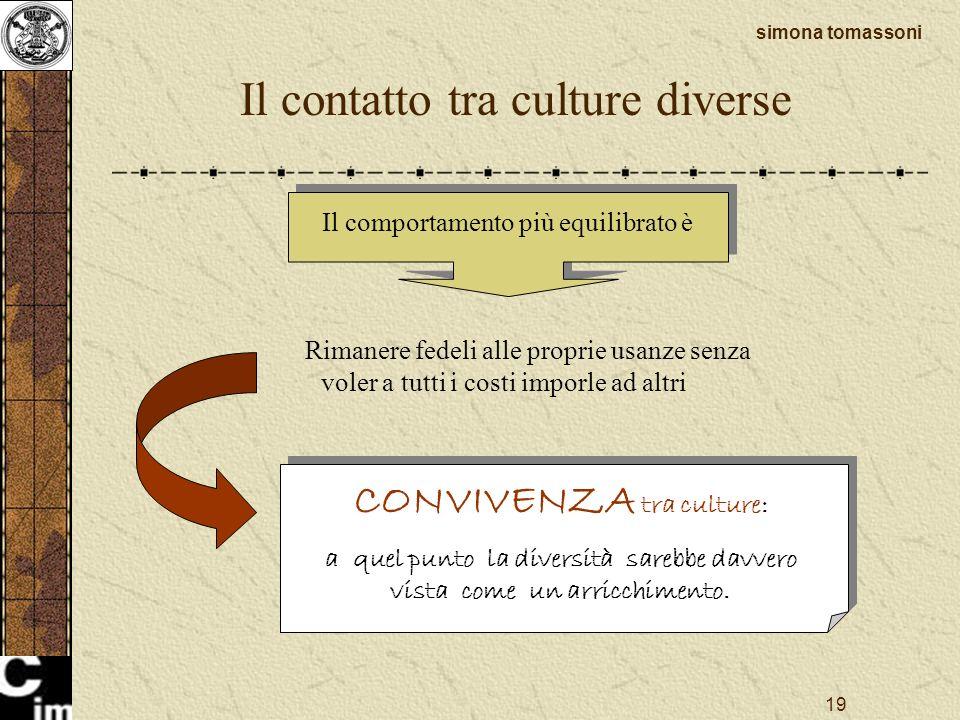 19 Il contatto tra culture diverse simona tomassoni Il comportamento più equilibrato è Rimanere fedeli alle proprie usanze senza voler a tutti i costi