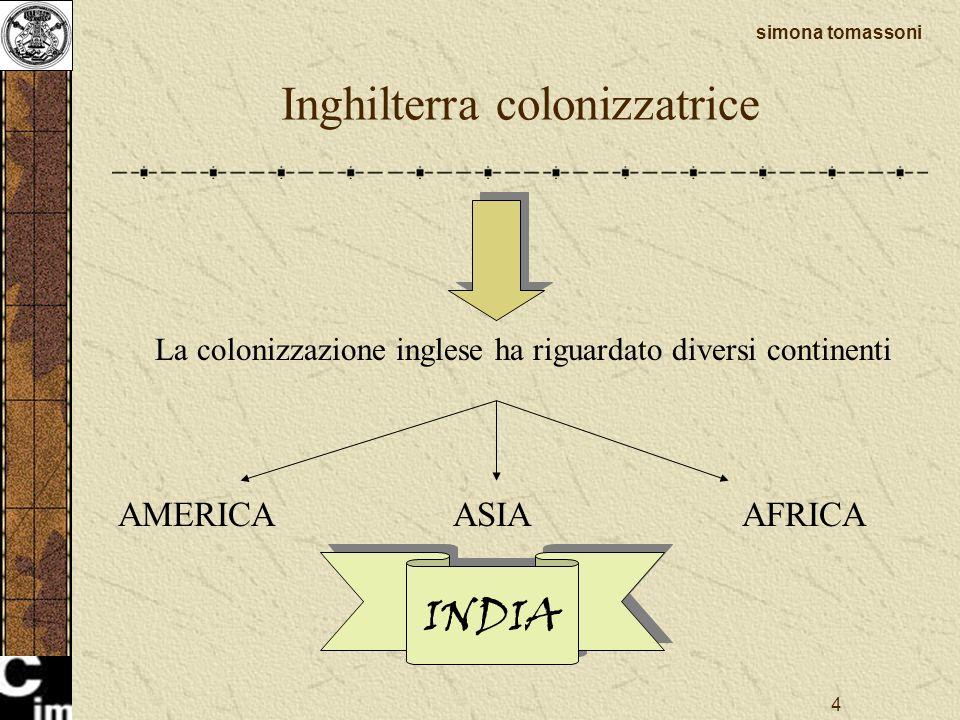 4 Inghilterra colonizzatrice La colonizzazione inglese ha riguardato diversi continenti AMERICAASIAAFRICA INDIA simona tomassoni