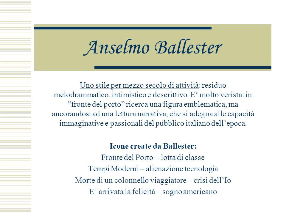Anselmo Ballester Uno stile per mezzo secolo di attività: residuo melodrammatico, intimistico e descrittivo.