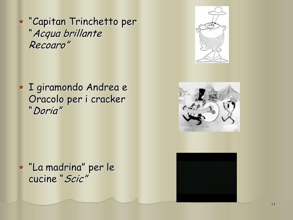 14 Capitan Trinchetto perAcqua brillante Recoaro Capitan Trinchetto perAcqua brillante Recoaro I giramondo Andrea e Oracolo per i crackerDoria I giram