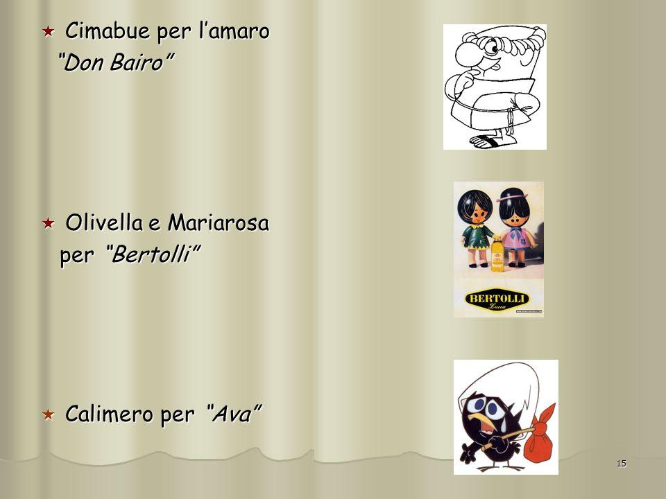 15 Cimabue per lamaro Cimabue per lamaro Don Bairo Don Bairo Olivella e Mariarosa Olivella e Mariarosa per Bertolli per Bertolli Calimero per Ava Cali