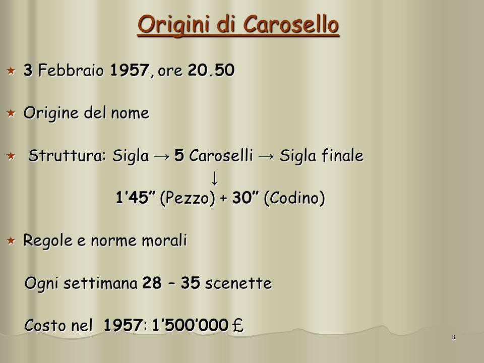 3 Origini di Carosello 3 Febbraio 1957, ore 20.50 3 Febbraio 1957, ore 20.50 Origine del nome Origine del nome Struttura: Sigla 5 Caroselli Sigla fina