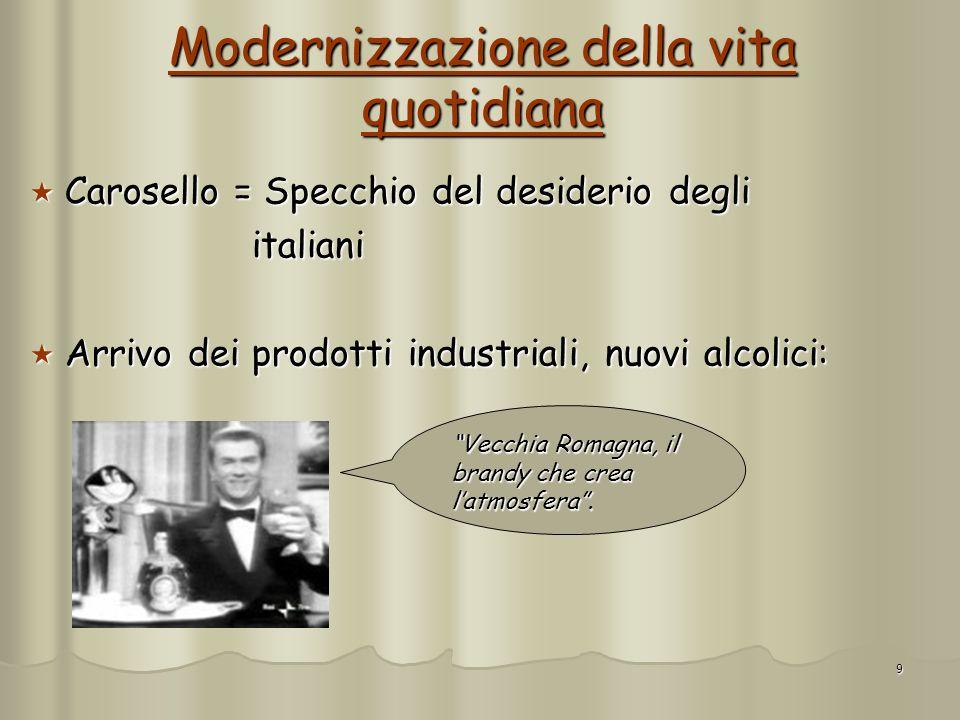 9 Modernizzazione della vita quotidiana Carosello = Specchio del desiderio degli Carosello = Specchio del desiderio degli italiani italiani Arrivo dei