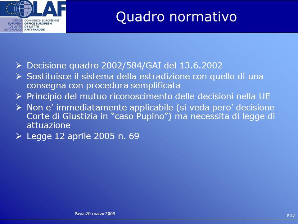 Pavia,20 marzo 2009 P 27 Quadro normativo Decisione quadro 2002/584/GAI del 13.6.2002 Sostituisce il sistema della estradizione con quello di una consegna con procedura semplificata Principio del mutuo riconoscimento delle decisioni nella UE Non e immediatamente applicabile (si veda pero decisione Corte di Giustizia in caso Pupino) ma necessita di legge di attuazione Legge 12 aprile 2005 n.