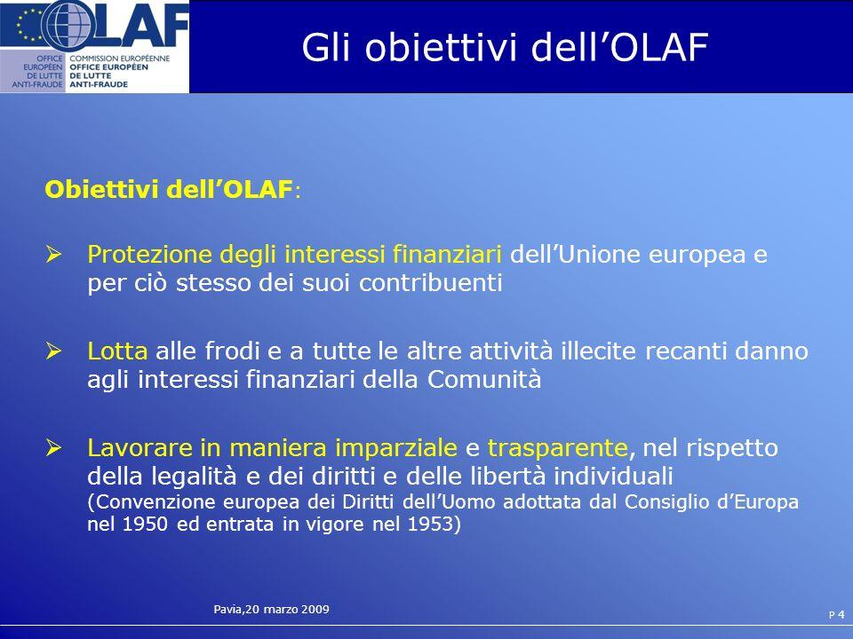 Pavia,20 marzo 2009 P 4 Gli obiettivi dellOLAF Obiettivi dellOLAF : Protezione degli interessi finanziari dellUnione europea e per ciò stesso dei suoi contribuenti Lotta alle frodi e a tutte le altre attività illecite recanti danno agli interessi finanziari della Comunità Lavorare in maniera imparziale e trasparente, nel rispetto della legalità e dei diritti e delle libertà individuali (Convenzione europea dei Diritti dellUomo adottata dal Consiglio dEuropa nel 1950 ed entrata in vigore nel 1953)