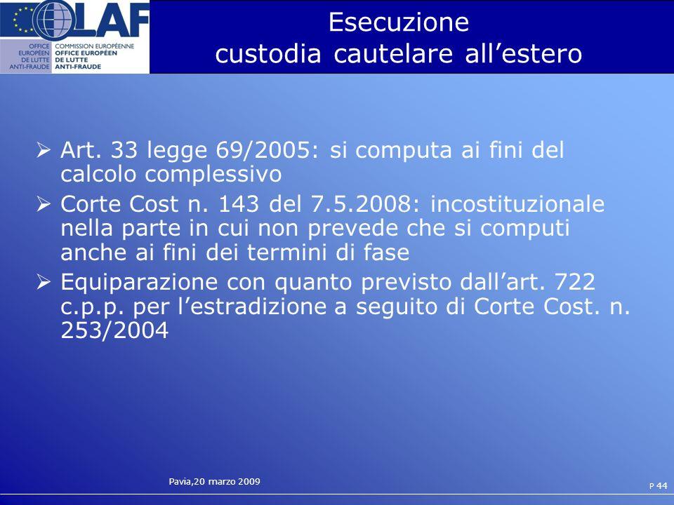 Pavia,20 marzo 2009 P 44 Esecuzione custodia cautelare allestero Art.