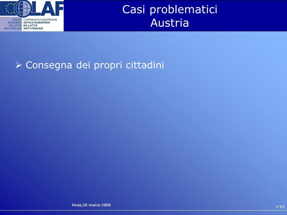 Pavia,20 marzo 2009 P 53 Casi problematici Austria Consegna dei propri cittadini