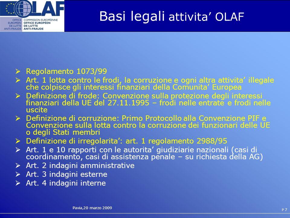 Pavia,20 marzo 2009 P 7 Basi legali attivita OLAF Regolamento 1073/99 Art.