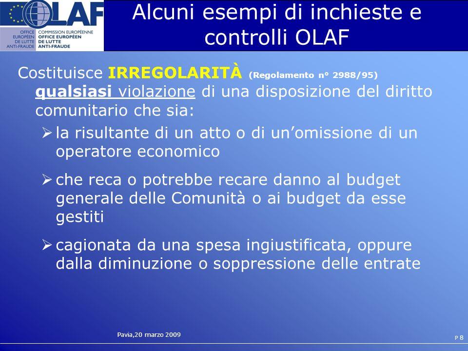 Pavia,20 marzo 2009 P 19 Rapporto tra attivita OLAF e responsabilita delle persone giuridiche Dpr 231/01 emanato in attuazione della delega della legge 300/2000 Art.