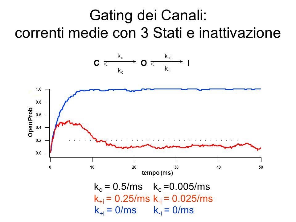 Relazioni tra costanti di velocità e costanti di tempo in un modello a tre stati con inattivazione C O k +i k -i I MOT = 1/(k c +k +i ) MCT = 1/ k o MIT =1/k -i (tempo medio dello stato inattivato) MOB*=(k C / k +i )+1 (numero medio di aperture/burst) koko kckc Regola generale: il tempo medio che il canale trascorre in uno stato è uguale allinverso della somma delle costanti di velocità che si allontanano da quello stato * Qualora il flikering sia tra C e O; altrimenti, se fosse tra O e I allora sarebbe: MOB=(k +i / k C )+1