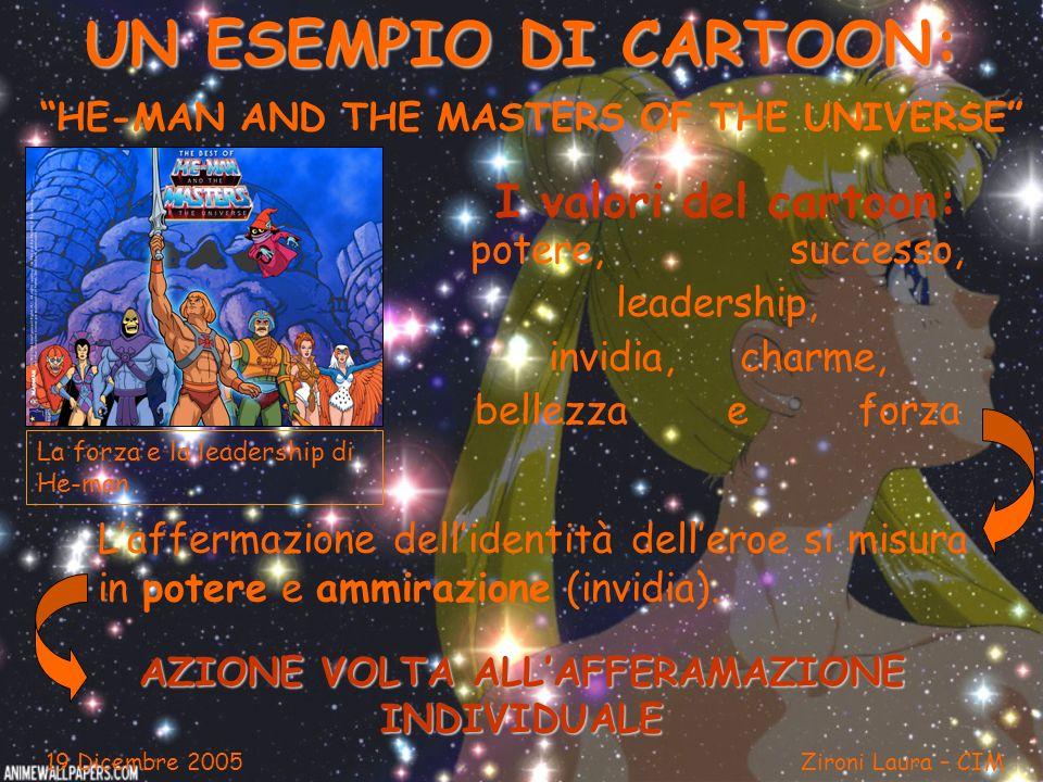 UN ESEMPIO DI CARTOON: HE-MAN AND THE MASTERS OF THE UNIVERSE I valori del cartoon: potere, successo, leadership, invidia, charme, bellezza e forza La