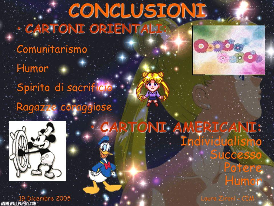 CONCLUSIONI CARTONI ORIENTALI: CARTONI ORIENTALI: Comunitarismo Humor Spirito di sacrificio Ragazze coraggiose 19 Dicembre 2005 Laura Zironi - CIM CAR