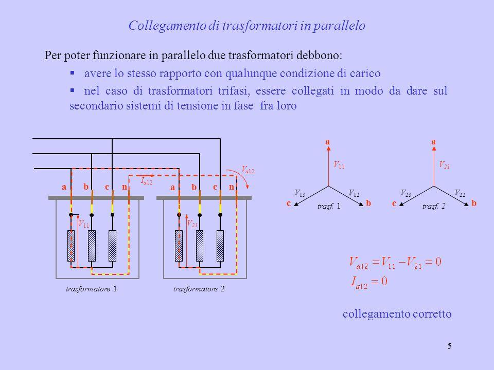 5 Collegamento di trasformatori in parallelo V 21 ba cncban V 11 trasformatore 1trasformatore 2 I a12 V a12 collegamento corretto b a c b a c trasf. 1