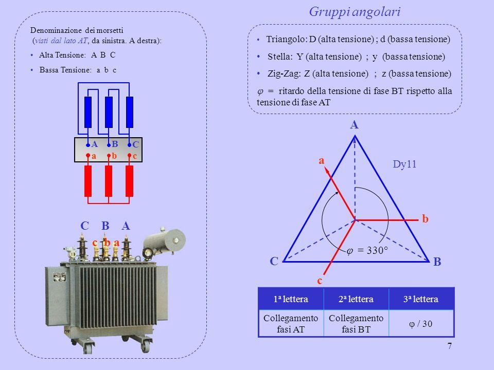 7 A C B = 330° c b a C B A c b a AB C cba Denominazione dei morsetti (visti dal lato AT, da sinistra. A destra): Alta Tensione: A B C Bassa Tensione: