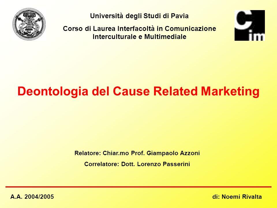 Università degli Studi di Pavia Corso di Laurea Interfacoltà in Comunicazione Interculturale e Multimediale Deontologia del Cause Related Marketing Re