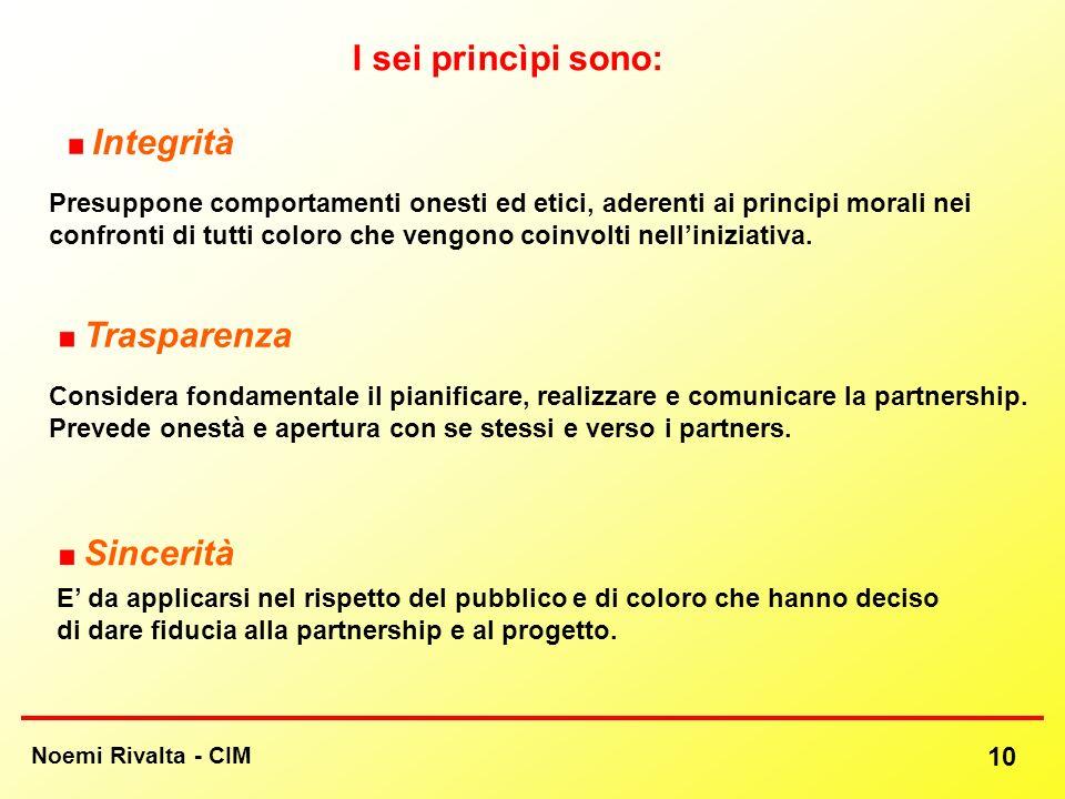 Noemi Rivalta - CIM 10 Sincerità Integrità Trasparenza Presuppone comportamenti onesti ed etici, aderenti ai principi morali nei confronti di tutti co