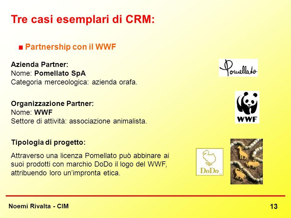 Noemi Rivalta - CIM 13 Tre casi esemplari di CRM: Partnership con il WWF Azienda Partner: Nome: Pomellato SpA Categoria merceologica: azienda orafa. O