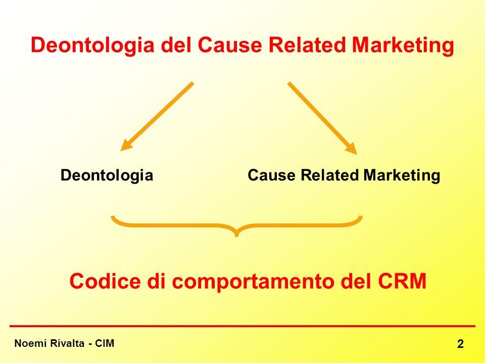 Noemi Rivalta - CIM 2 Deontologia del Cause Related Marketing DeontologiaCause Related Marketing Codice di comportamento del CRM