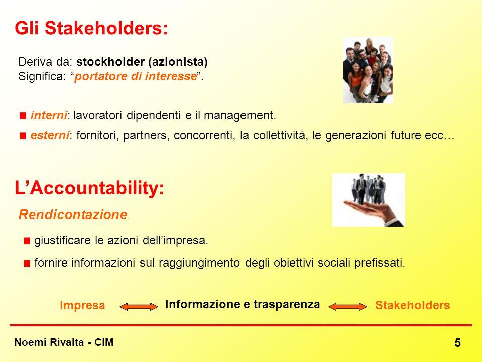 Noemi Rivalta - CIM 5 LAccountability: esterni: fornitori, partners, concorrenti, la collettività, le generazioni future ecc… Rendicontazione Gli Stak