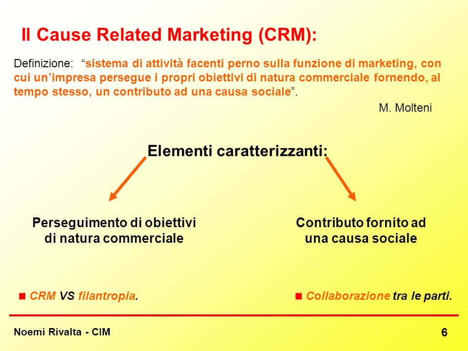 Noemi Rivalta - CIM 6 Il Cause Related Marketing (CRM): Definizione: sistema di attività facenti perno sulla funzione di marketing, con cui unimpresa