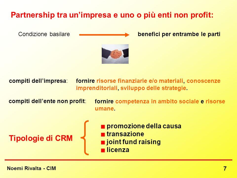 compiti dellente non profit: Noemi Rivalta - CIM 7 Partnership tra unimpresa e uno o più enti non profit: Tipologie di CRM promozione della causa tran
