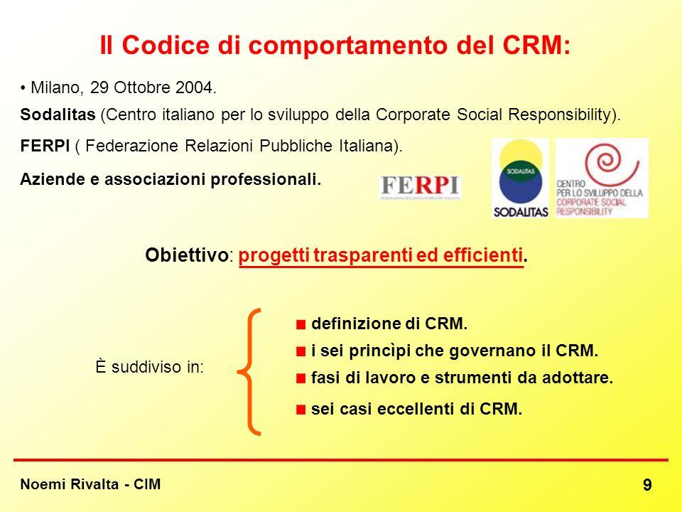 Noemi Rivalta - CIM 9 Il Codice di comportamento del CRM: Milano, 29 Ottobre 2004. Sodalitas (Centro italiano per lo sviluppo della Corporate Social R