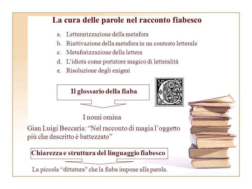 Il glossario della fiaba Gian Luigi Beccaria: Nel racconto di magia loggetto più che descritto è battezzato I nomi omina Chiarezza e struttura del linguaggio fiabesco La piccola dittatura che la fiaba impone alla parola.