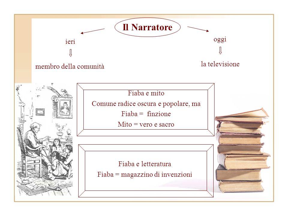 Fiaba e letteratura Fiaba = magazzino di invenzioni Fiaba e mito Comune radice oscura e popolare, ma Fiaba = finzione Mito = vero e sacro Il Narratore