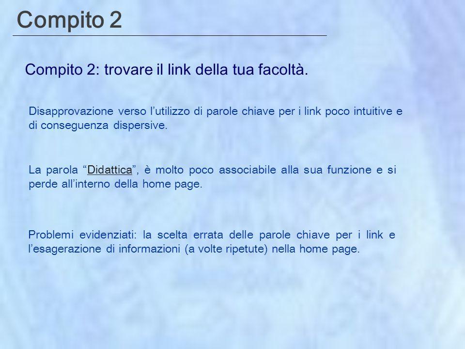 Compito 2 Compito 2: trovare il link della tua facoltà.