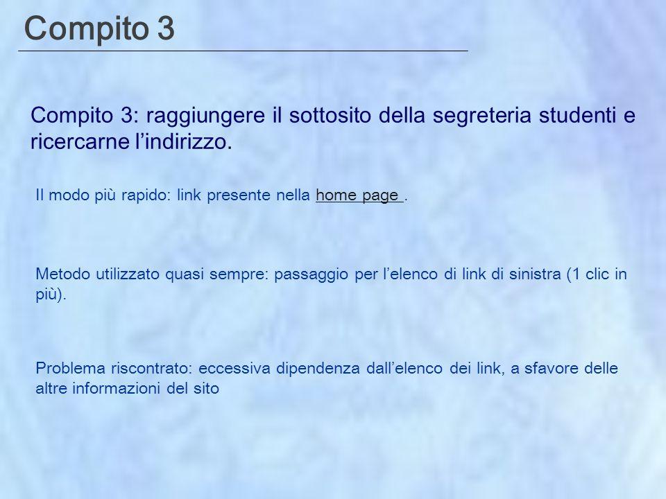 Compito 3 Compito 3: raggiungere il sottosito della segreteria studenti e ricercarne lindirizzo.