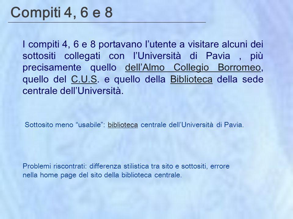 Compiti 4, 6 e 8 I compiti 4, 6 e 8 portavano lutente a visitare alcuni dei sottositi collegati con lUniversità di Pavia, più precisamente quello dellAlmo Collegio Borromeo, quello del C.U.S.