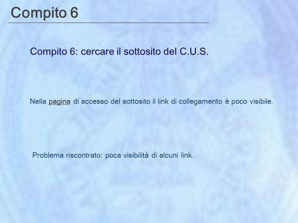Compito 6 Compito 6: cercare il sottosito del C.U.S.