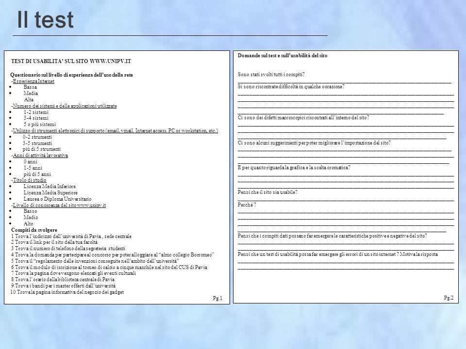 Il test TEST DI USABILITA SUL SITO WWW.UNIPV.IT Questionario sul livello di esperienza delluso della rete -Esperienza Internet Bassa Media Alta -Numero dei sistemi e delle applicazioni utilizzate 1-2 sistemi 3-4 sistemi 5 o più sistemi -Utilizzo di strumenti elettronici di supporto (email, vmail, Internet access, PC or workstation, etc.) 0-2 strumenti 3-5 strumenti più di 5 strumenti -Anni di attività lavorativa 0 anni 1-5 anni più di 5 anni -Titolo di studio Licenza Media Inferiore Licenza Media Superiore Laurea o Diploma Universitario -Livello di conoscenza del sito www.unipv.it Basso Medio Alto Compiti da svolgere 1 Trova lindirizzo delluniversità di Pavia, sede centrale 2 Trova il link per il sito della tua facoltà 3 Trova il numero di telefono della segreteria studenti 4 Trova la domanda per partecipare al concorso per poter alloggiare al almo collegio Borromeo 5 Trova il regolamento delle invenzioni conseguite nellambito delluniversità 6 Trova il modulo di iscrizione al torneo di calcio a cinque maschile nel sito del CUS di Pavia 7 Trova la pagina dove vengono elencati gli eventi culturali 8 Trova lorario della biblioteca centrale di Pavia 9 Trova i bandi per i master offerti dalluniversità 10 Trova la pagina informativa del negozio dei gadget Pg.1 Domande sul test e sullusabilità del sito Sono stati svolti tutti i compiti.