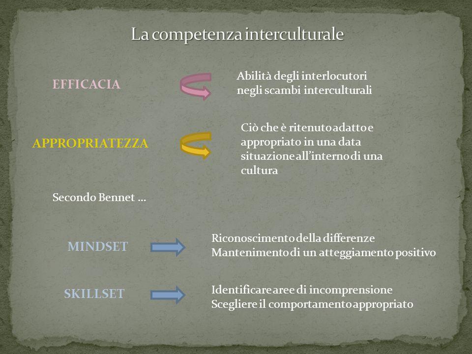 EFFICACIA APPROPRIATEZZA Abilità degli interlocutori negli scambi interculturali Ciò che è ritenuto adatto e appropriato in una data situazione allint