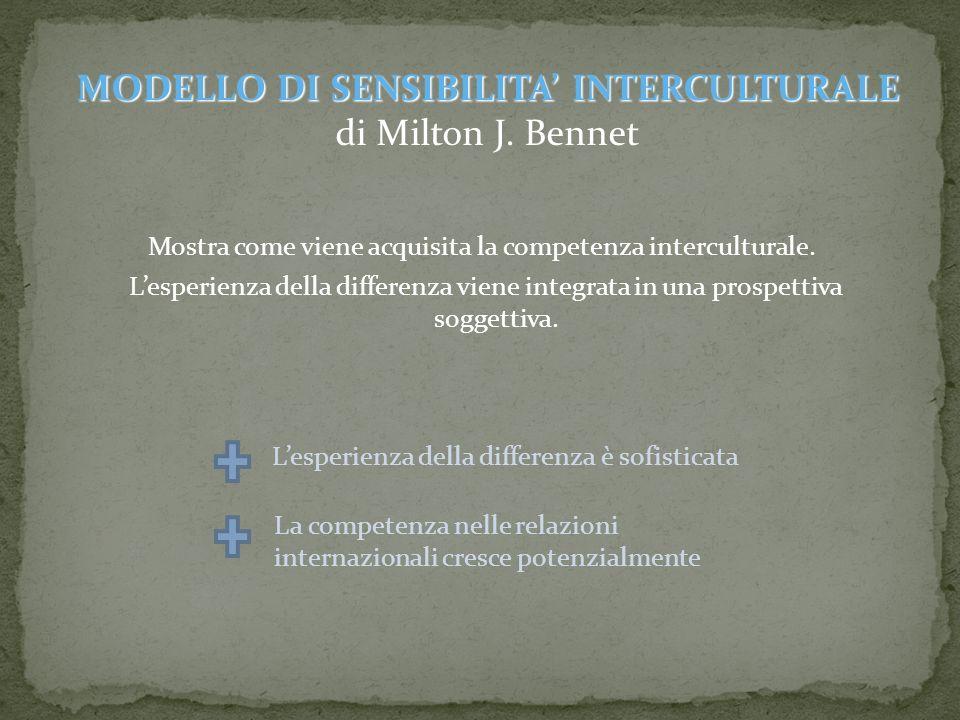 Mostra come viene acquisita la competenza interculturale. Lesperienza della differenza viene integrata in una prospettiva soggettiva. MODELLO DI SENSI