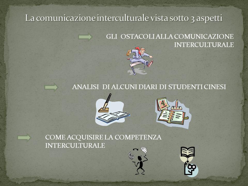 GLI OSTACOLI ALLA COMUNICAZIONE INTERCULTURALE ANALISI DI ALCUNI DIARI DI STUDENTI CINESI COME ACQUISIRE LA COMPETENZA INTERCULTURALE