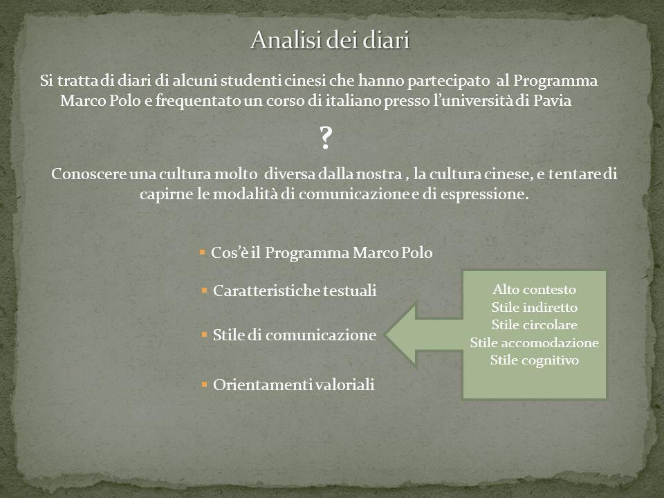 Si tratta di diari di alcuni studenti cinesi che hanno partecipato al Programma Marco Polo e frequentato un corso di italiano presso luniversità di Pa