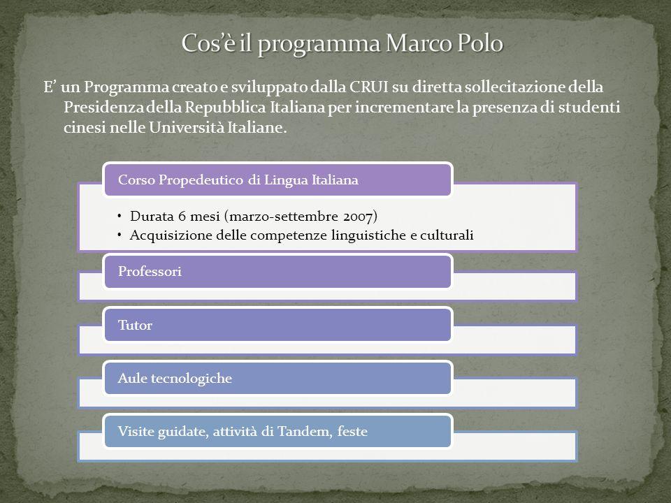 E un Programma creato e sviluppato dalla CRUI su diretta sollecitazione della Presidenza della Repubblica Italiana per incrementare la presenza di stu
