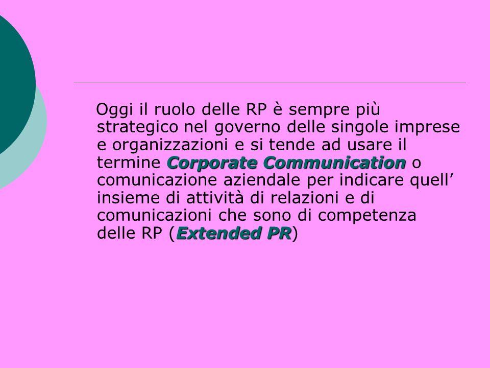 Corporate Communication Extended PR Oggi il ruolo delle RP è sempre più strategico nel governo delle singole imprese e organizzazioni e si tende ad us