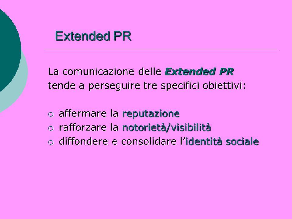 Extended PR La comunicazione delle Extended PR tende a perseguire tre specifici obiettivi: affermare la reputazione affermare la reputazione rafforzar