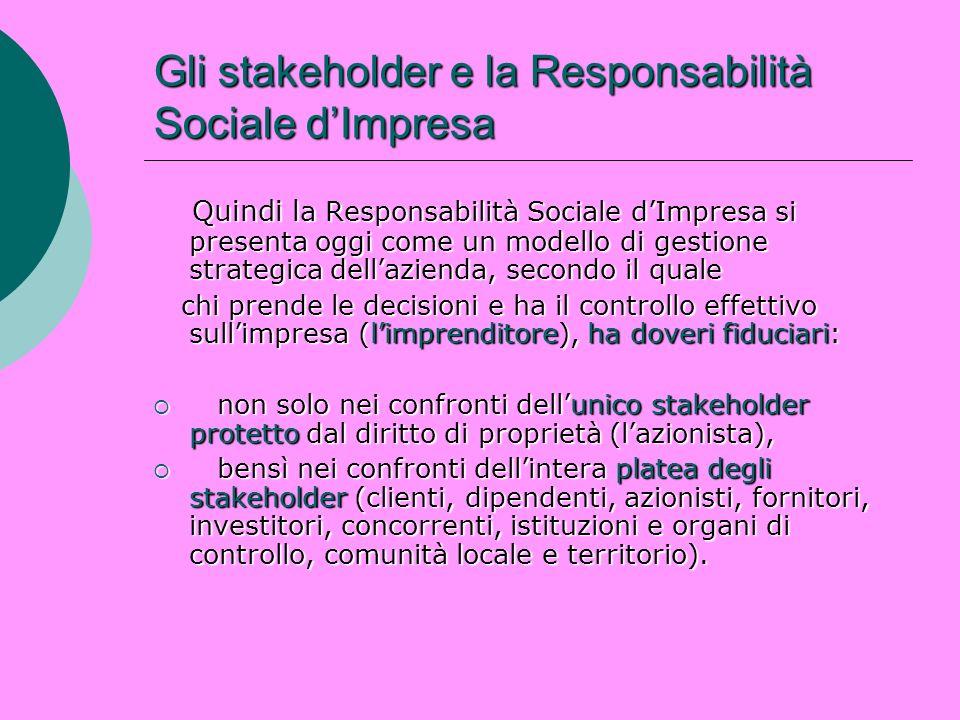 Gli stakeholder e la Responsabilità Sociale dImpresa Quindi l a Responsabilità Sociale dImpresa si presenta oggi come un modello di gestione strategic