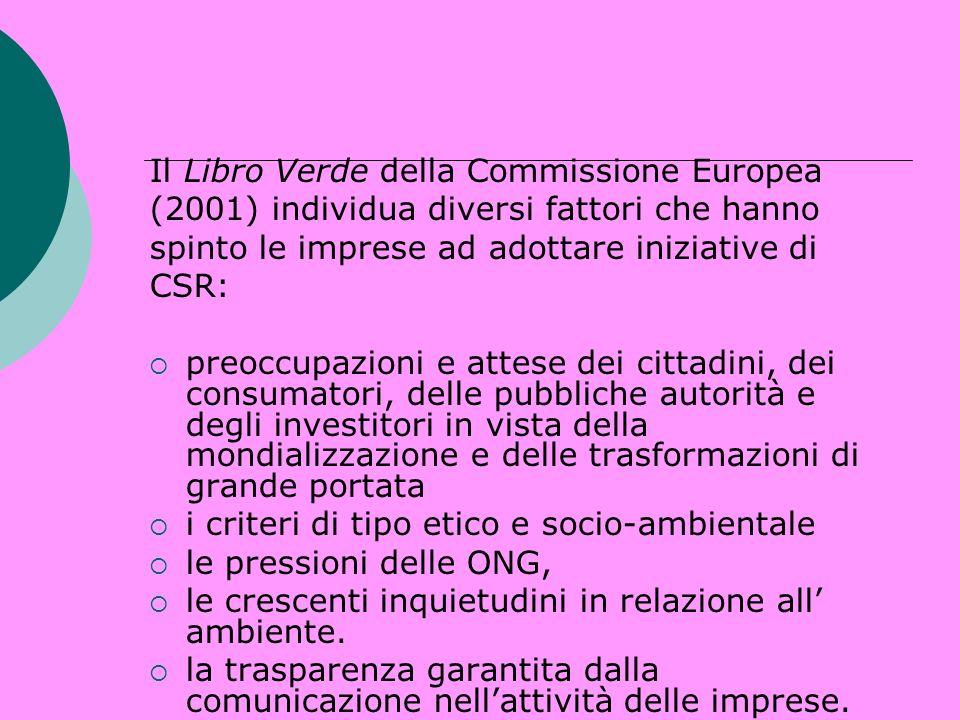 Il Libro Verde della Commissione Europea (2001) individua diversi fattori che hanno spinto le imprese ad adottare iniziative di CSR: preoccupazioni e