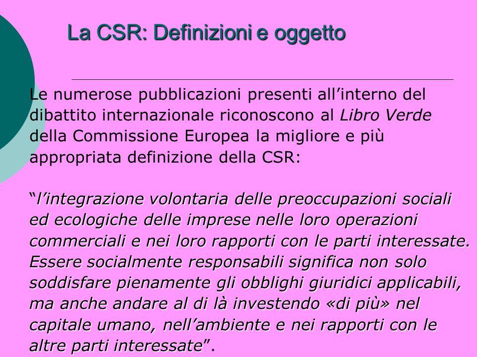 La CSR: Definizioni e oggetto Le numerose pubblicazioni presenti allinterno del dibattito internazionale riconoscono al Libro Verde della Commissione