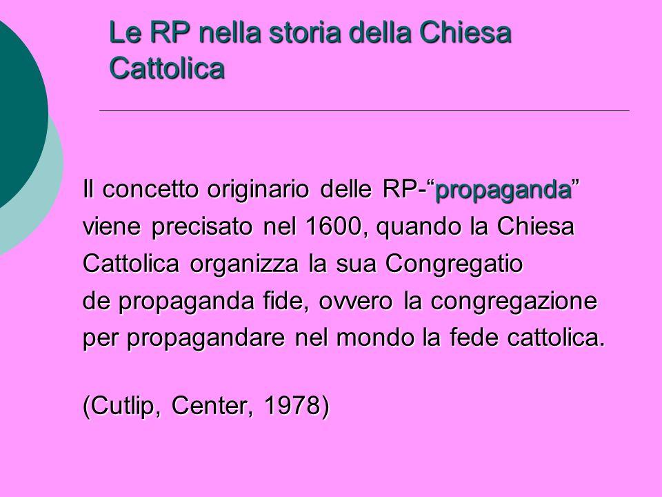 Le RP nella storia della Chiesa Cattolica Il concetto originario delle RP-propaganda viene precisato nel 1600, quando la Chiesa Cattolica organizza la