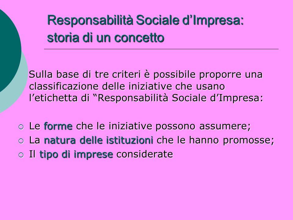 Responsabilità Sociale dImpresa: storia di un concetto Sulla base di tre criteri è possibile proporre una classificazione delle iniziative che usano l